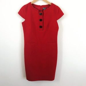 Ann Taylor Short Sleeve Button Red Dress Size 4